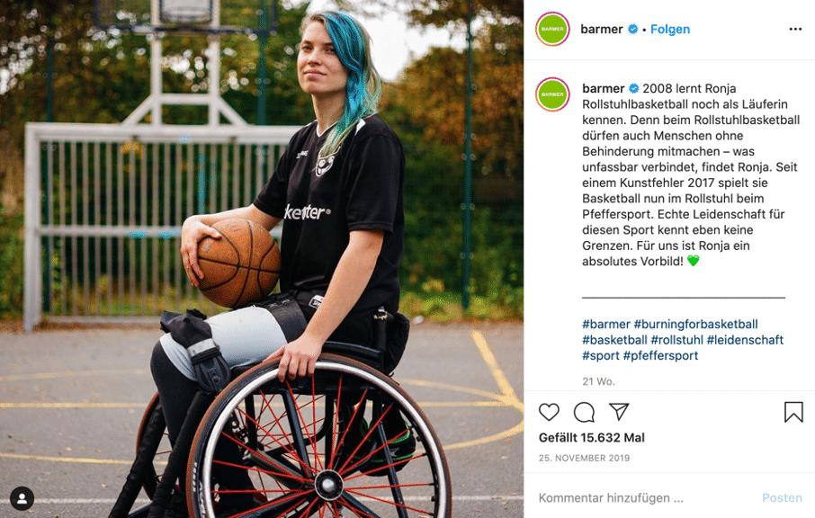 Posting zu Rollstuhlbasketballerin Ronja