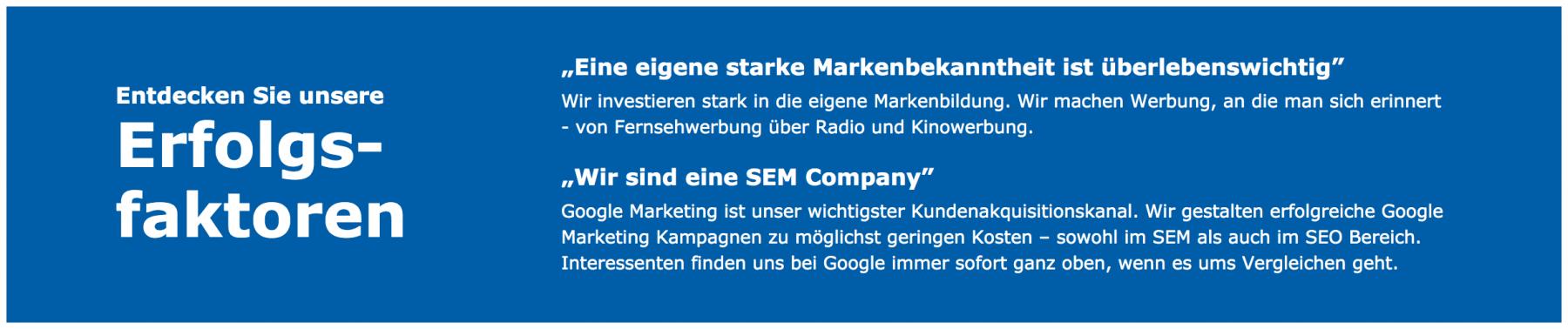 Check24 Erfolgsfaktoren - Marketing