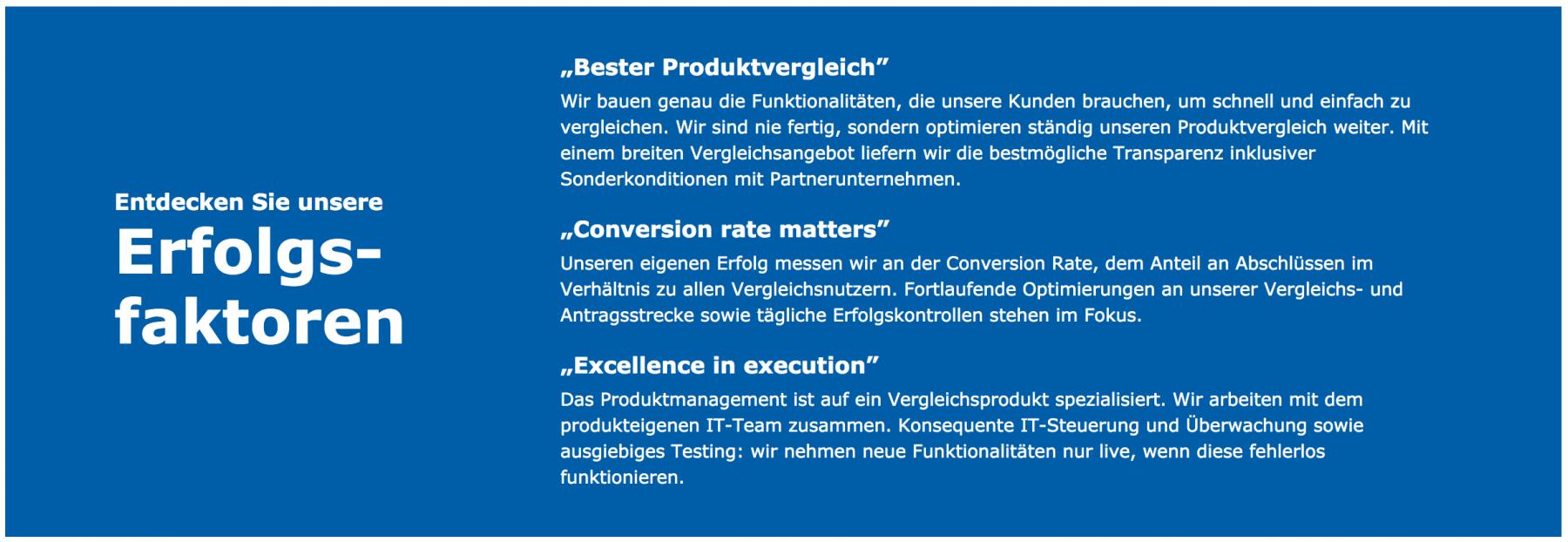 Check24 Erfolgsfaktoren - Produktmanagement