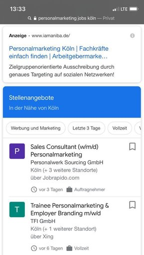 Google for Jobs - Mobile Ansicht